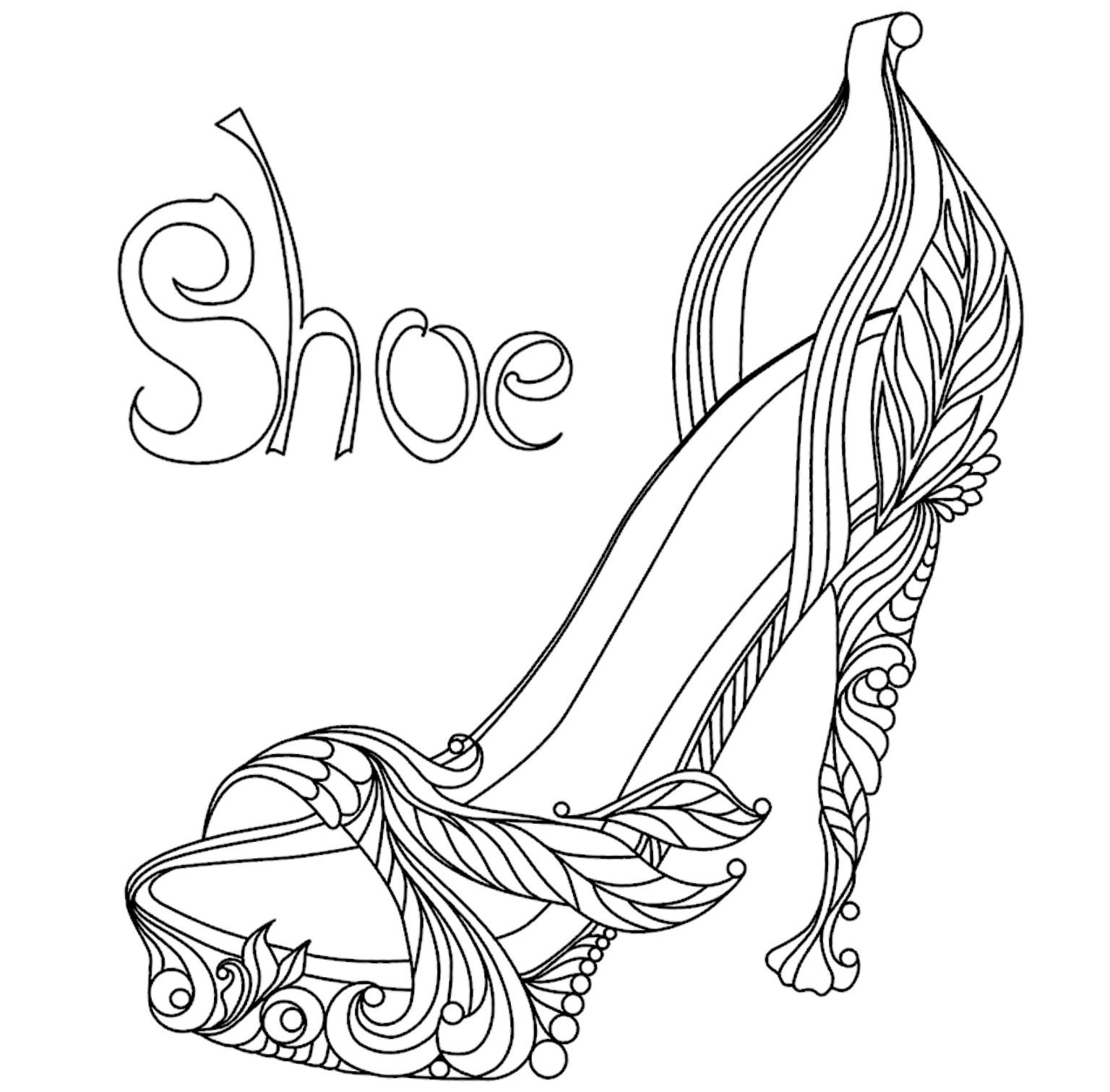 Shoe Coloring Page Shoe Template Valentine Coloring Pages