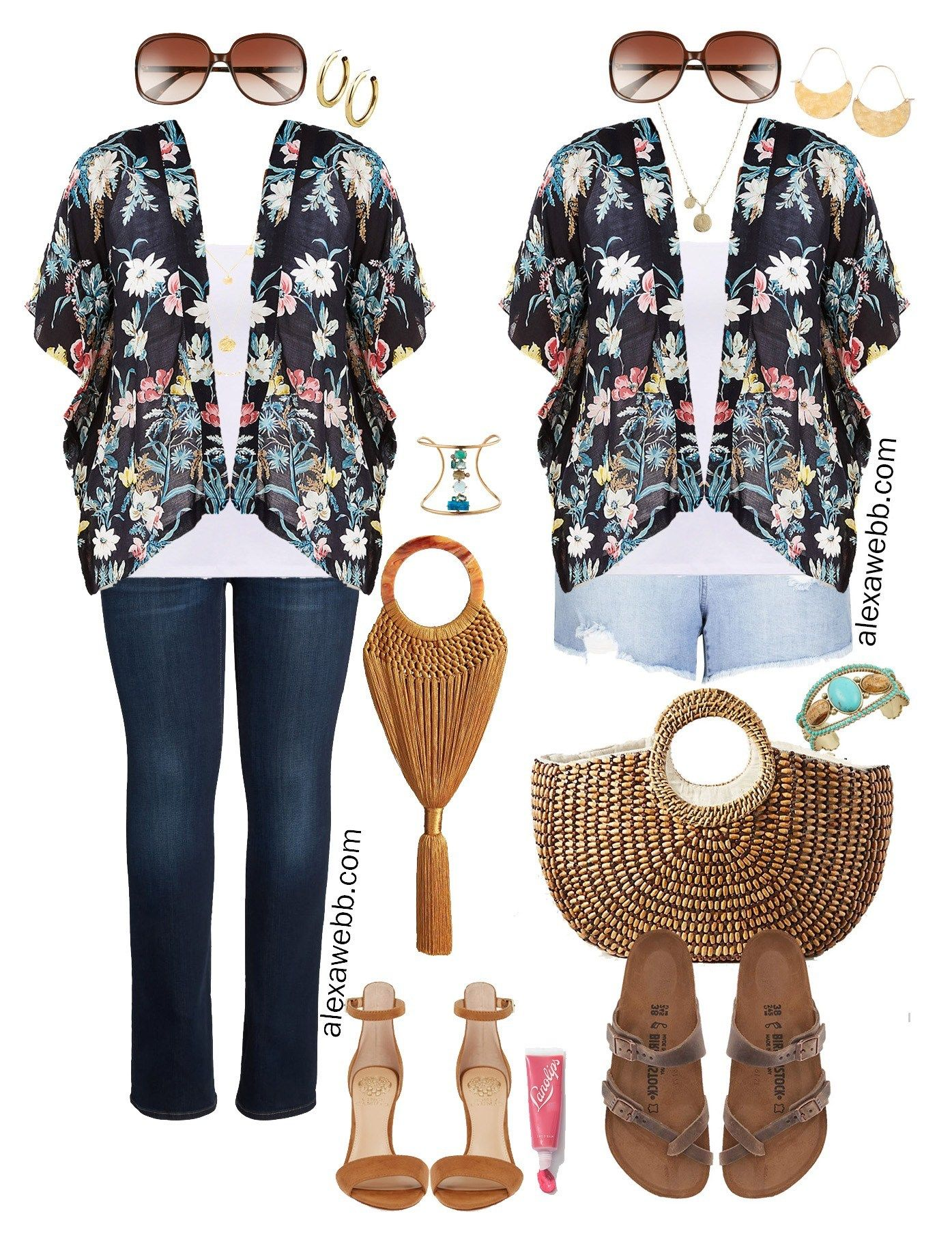 465d1123cd Plus Size Kimono Outfit Ideas - Summer Jeans and Denim Shorts, Sandals,  Kimono -