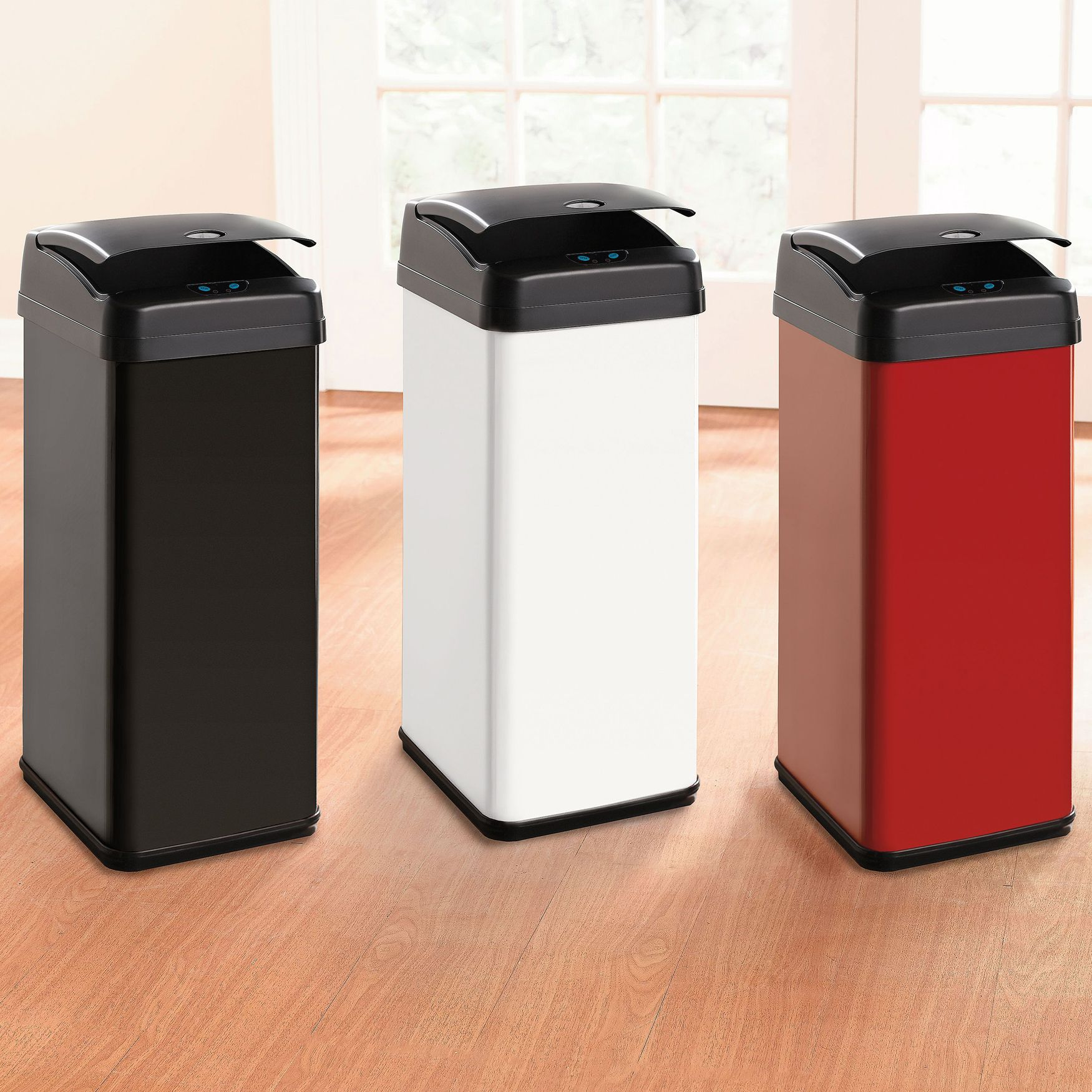 Red Kitchen Trash Can Comfort Mat 48 Lt Motion Sensor Kitsch