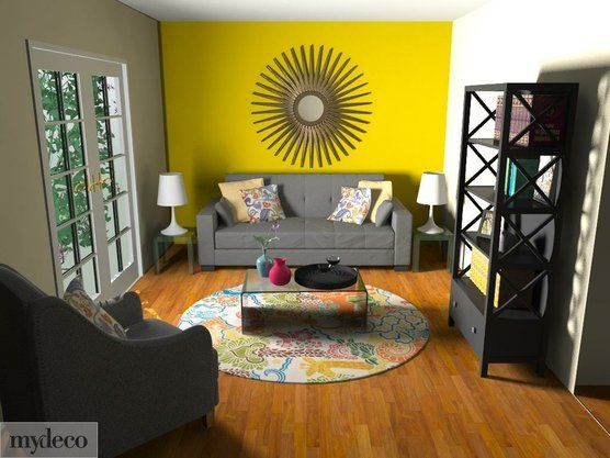 Cachet Style: Makeover Your Home Online in 3D | Yellow accent walls ...