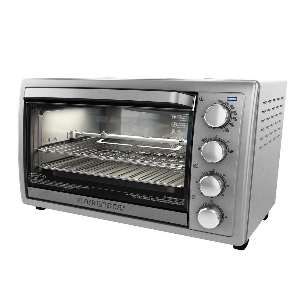 Black Decker 1500 W 9 Slice Silver Toaster Oven With Temperature Control And Built In Timer To4314ssd Countertop Oven Rotisserie Oven Black Decker Toaster