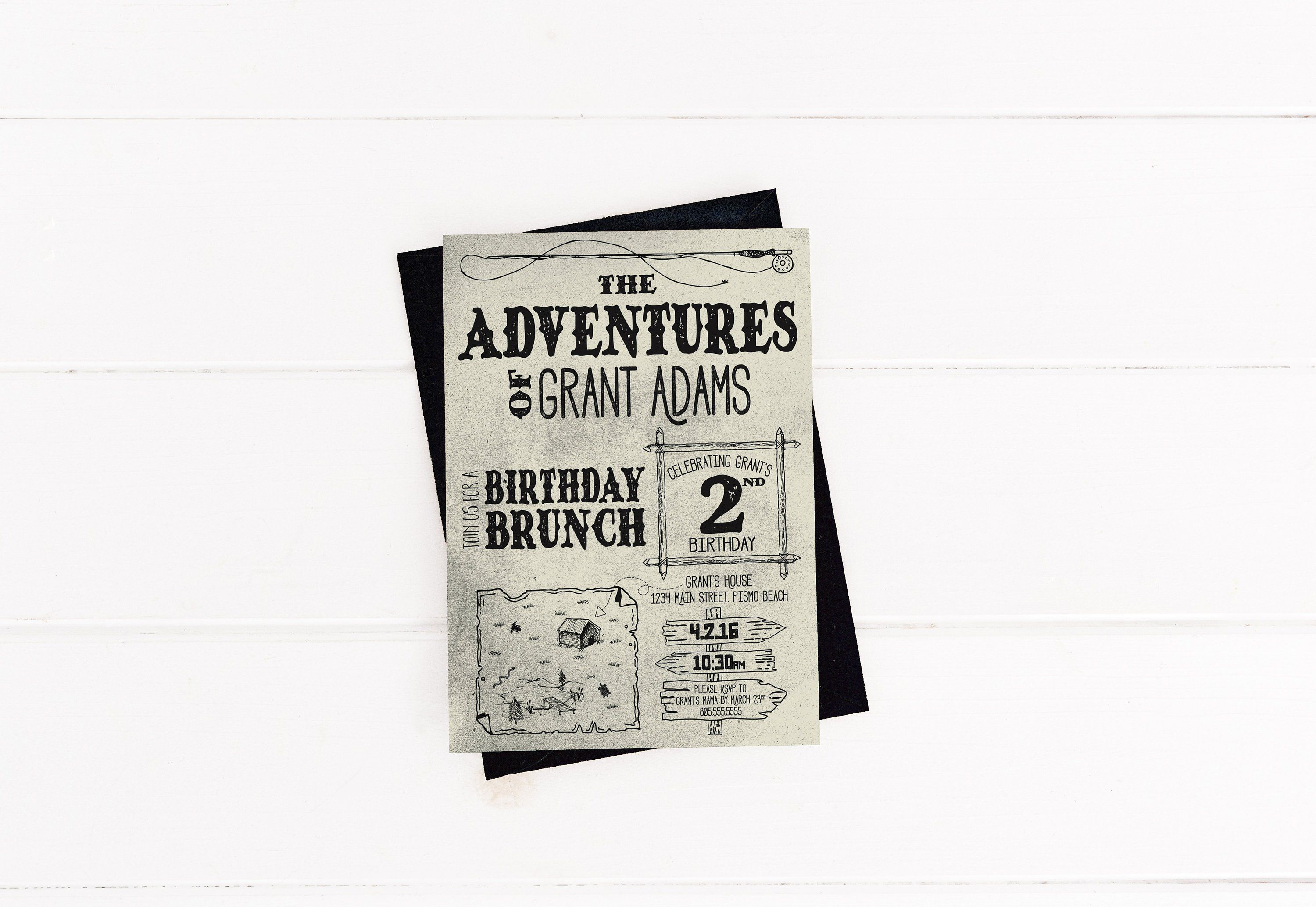 Adventures Of Tom And Huck Birthday Invitations Outdoors