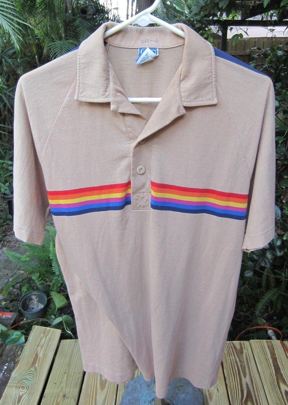 Vintage Large Polo Shirt Op Ocean Pacific Sunwear Rainbow Design