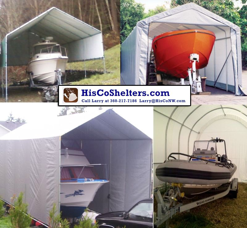 Shelter Logic Boat Cover That Has Kit Sizes From 10 To 30 Wide 6 To 20 High And Up To 100 Long It Has Heavy D Portable Carport Carport Temporary Carport