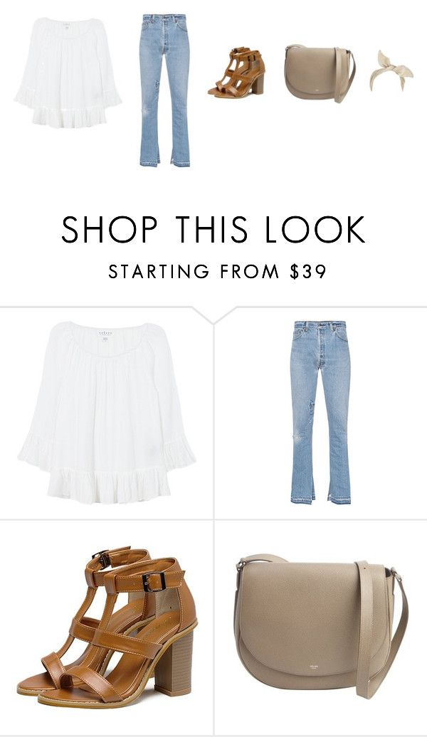 """""""Untitled #3897"""" by memoiree ❤ liked on Polyvore featuring Velvet, RE/DONE, CÉLINE and River Island"""