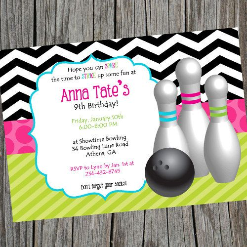 Girly Girl Bowling Birthday Party Invitation Bright and Colorful - bowling invitation
