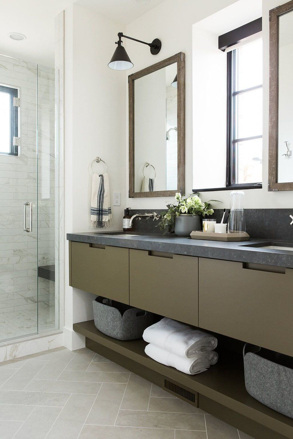 office countertops. Guest Bathroom With Olive Green Cabinets And Dark Countertops Limestone Herringbone Floors Office L