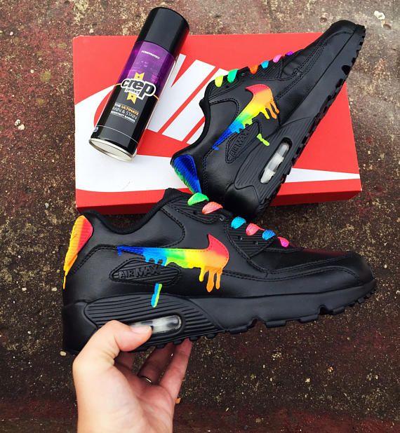 Rainbow drippy nike air max 90 | shoes in 2019 | Cheap nike