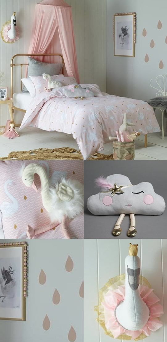 Double JIGGLE AND GIGGLE Swan Princess Quilt cover Set Single QueenCushions