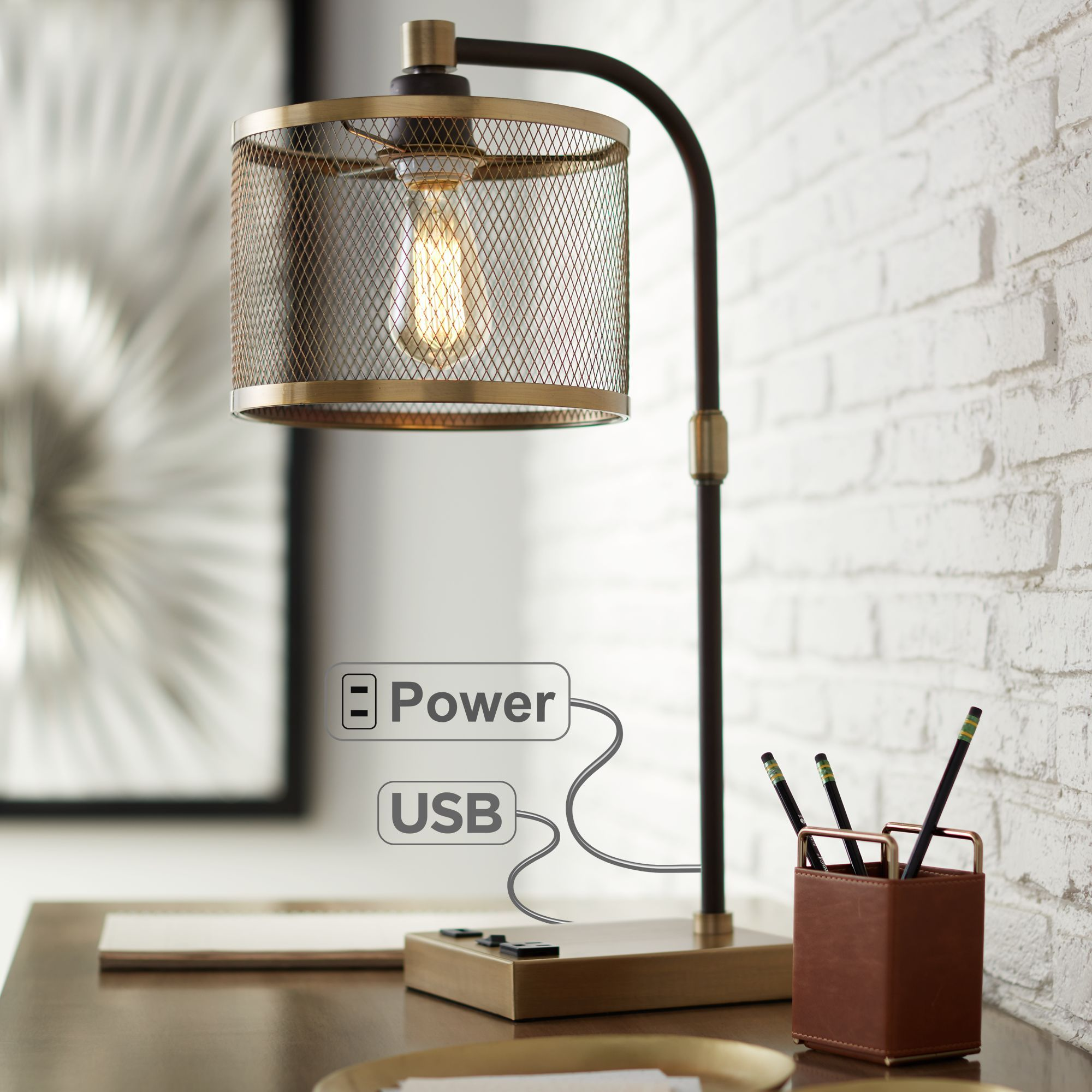 360 Lighting Industrial Desk Lamp with USB and AC Power