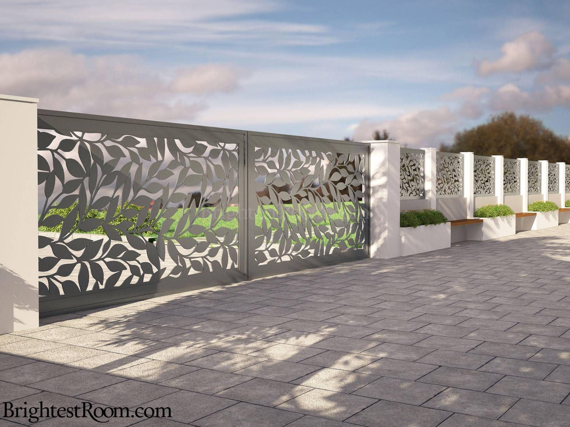 deep forest mild steel laser cut gate and fence gate fence