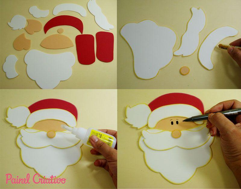 Enfeite De Sala ~ como fazer enfeite natal guirlanda papai noel decoracao casa sala de aula escola EVA (8) Natal
