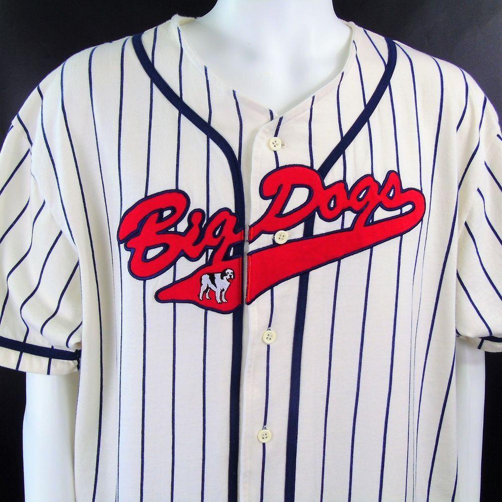 9cc7dd303 Big Dogs Baseball Shirt White Blue Striped Button Up Mens Size XL ...