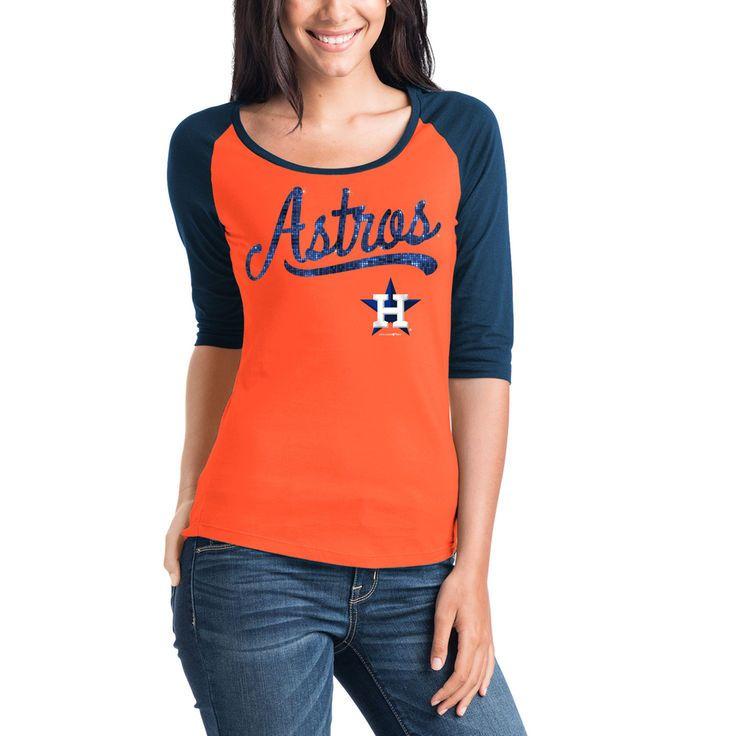 Houston Astros 5th   Ocean by New Era Women s Baby Jersey 3 4-Sleeve Raglan  T-Shirt - Orange Navy -  29.99 76d4118c34