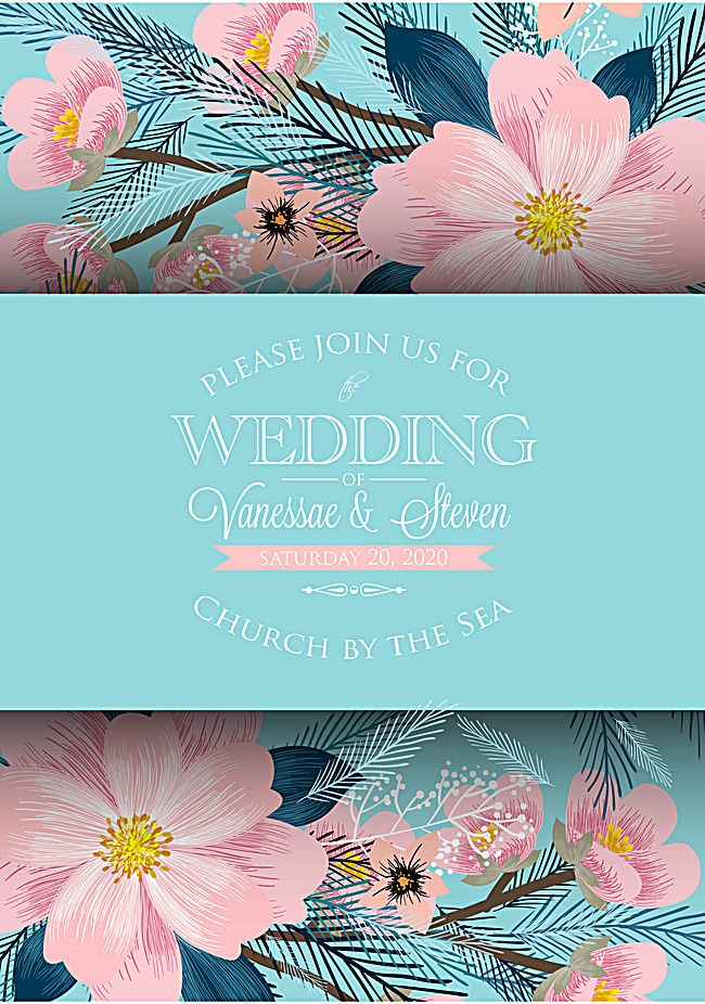 Plant flowers watercolor wedding invitations template vector - fresh wedding invitation vector templates free download