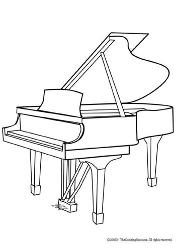 Coloring Page Grand Piano Coloring Books Drawing Piano Music