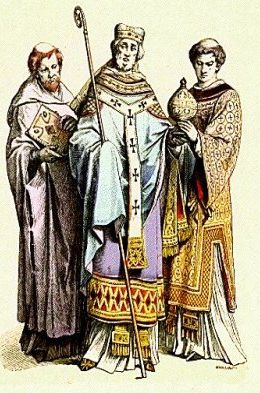 Medieval Clergy Clothing The priests with their...