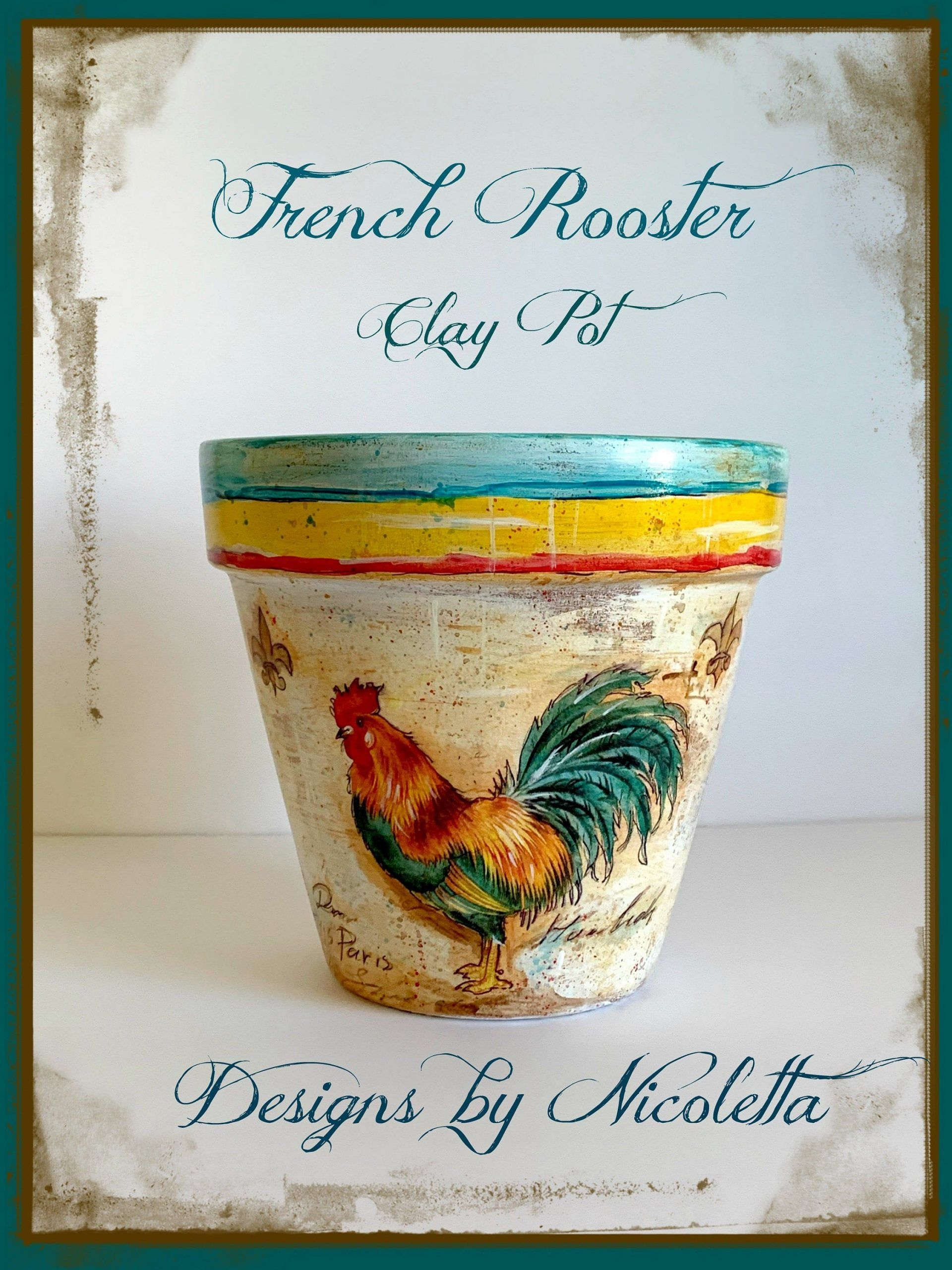 Painted and decoupaged terracotta plant pot with a French rooster design rustic planter unique clay pot gardening gift distressed 75clay