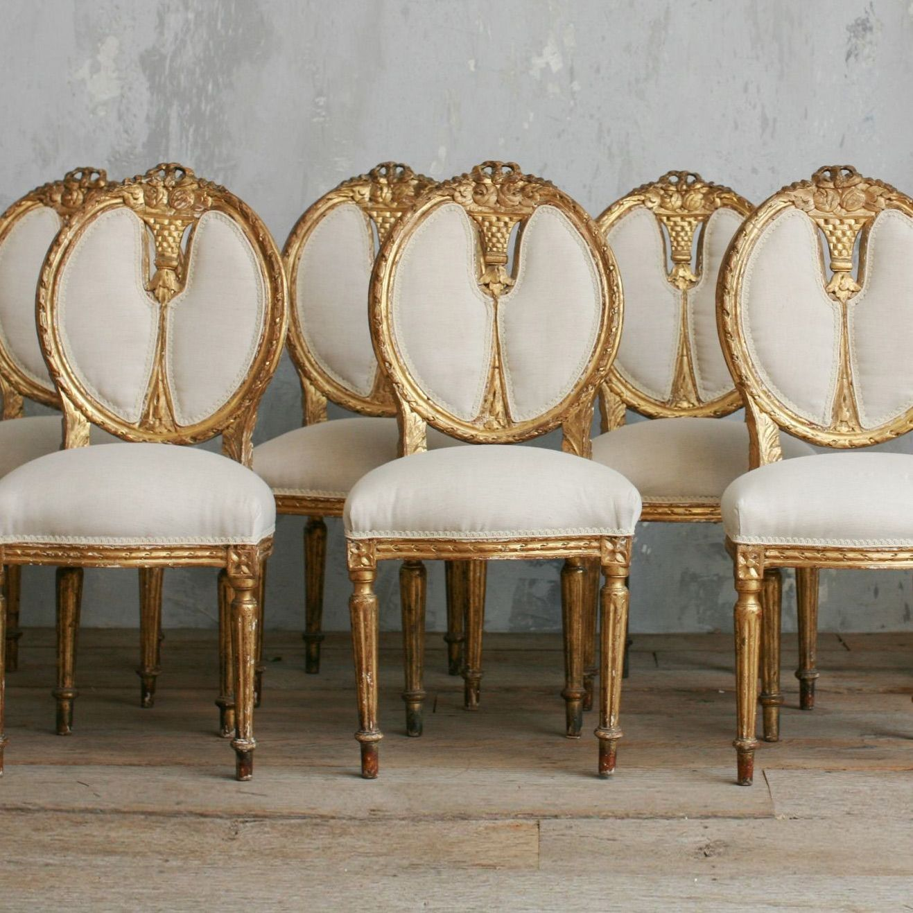 Vintage Gold Gilt Upholstered Dining Side Chairs Set Of 6 Louis XVI Amazing Ideas