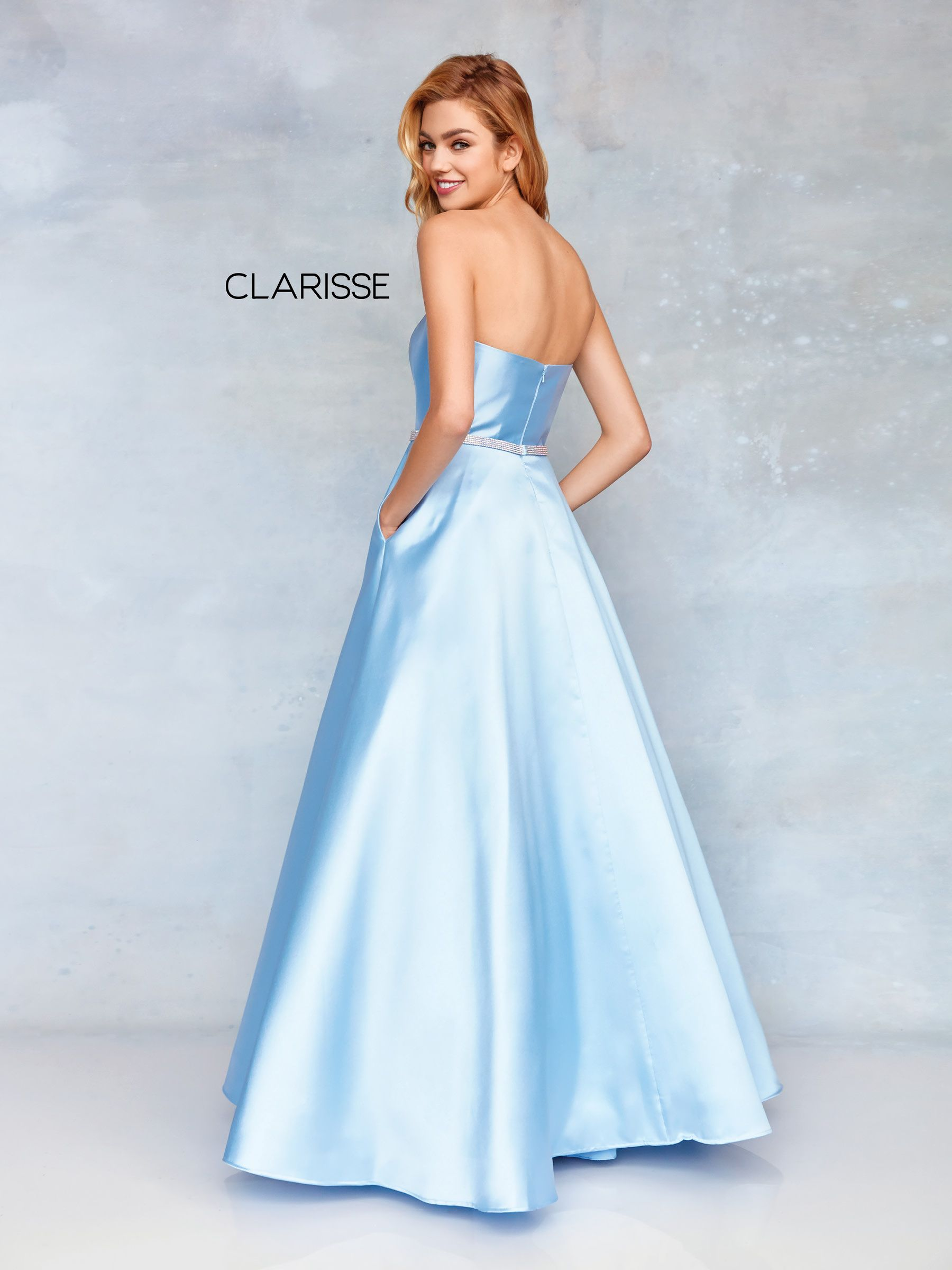 d451b46022 3739 - Powder blue mikado strapless prom ball gown with a detailed belt