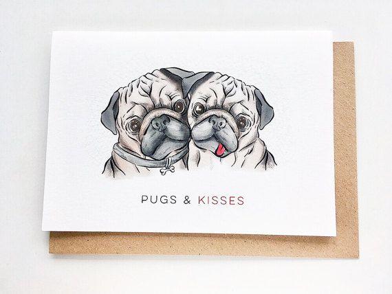 Pugs Kisses I Love You Card Anniversary Card Valentine S