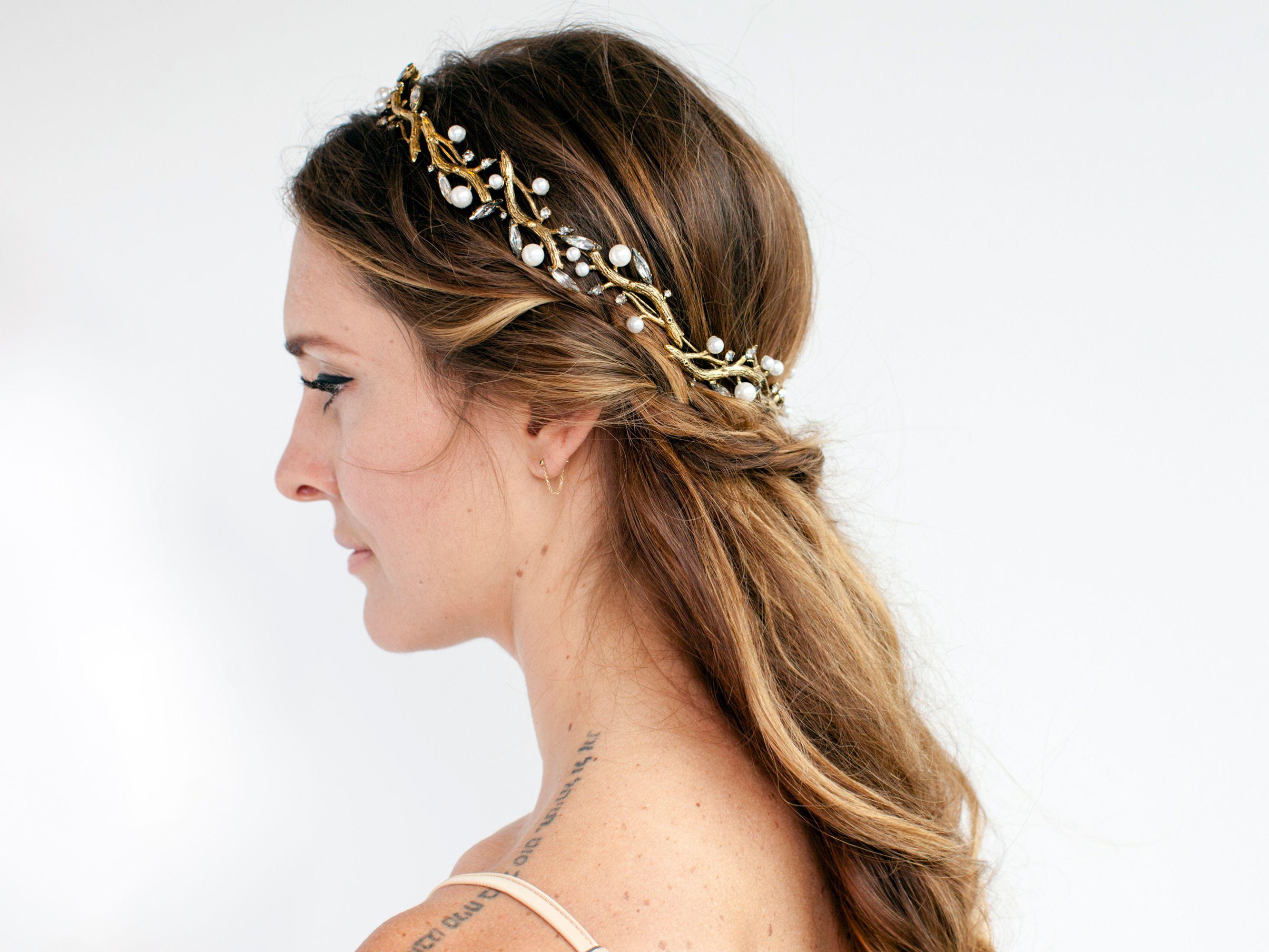 half-up half-down bridal updo with gold headband | wedding