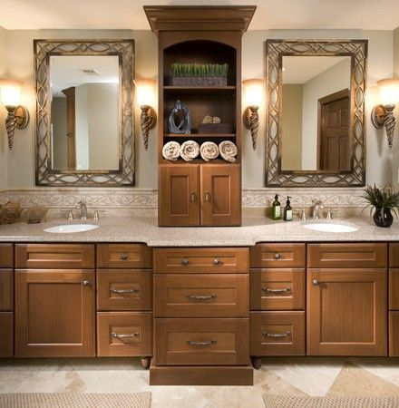 his and her's master bathroom vanity with double sinks and ample