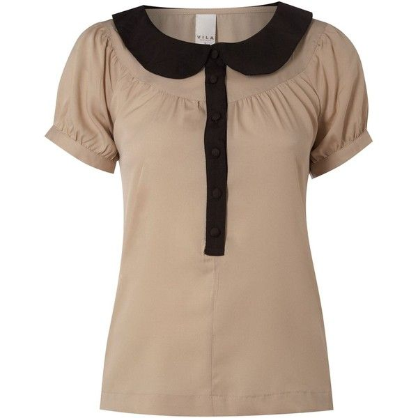 Vila Round Neck Collar Blouse (£13) ❤ liked on Polyvore featuring tops, blouses, t-shirts, women, woven top, collar top, beige blouse, cap sleeve top and round neck blouse