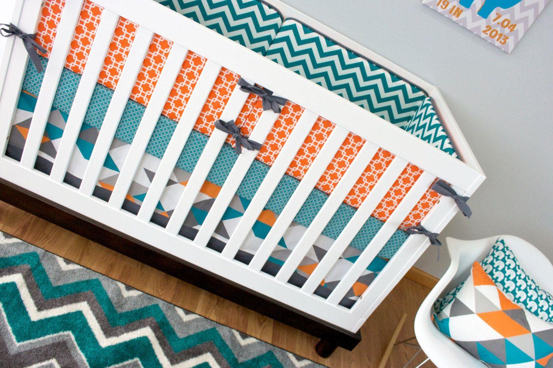 Crib Bedding Boy Turquoise Orange Nursery Baby Set Gray Geometric Fox Chevron Sheet Skirt