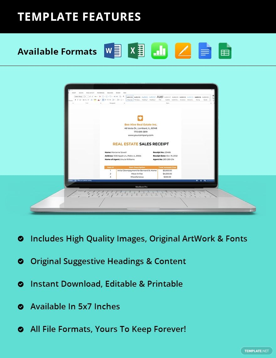 Real Estate Sales Receipt Template Ad Ad Estate Real Sales Template Receipt Receipt Template Apple Mac Document Templates