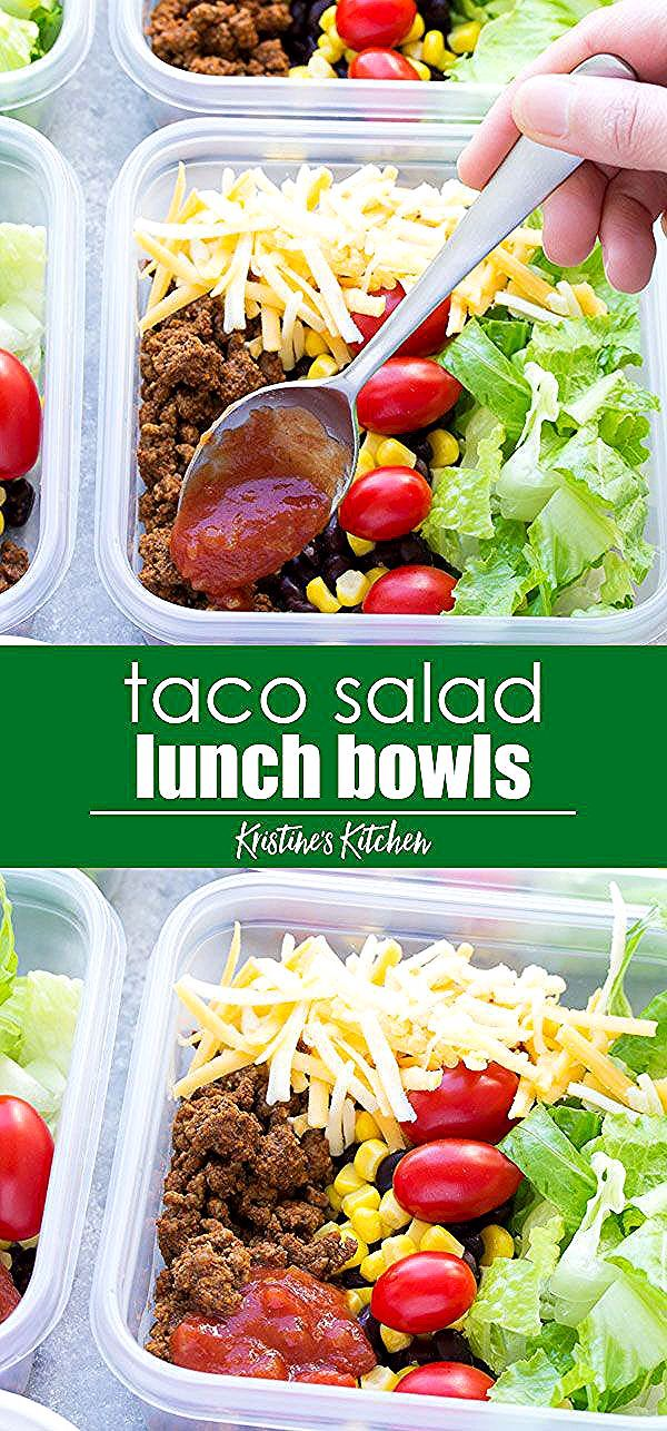 Meal Prep Taco Salad Lunch Bowls that you can make ahead! These easy taco salads are filled with taco beef, lettuce, cheese, black beans, corn and salsa! Sub chicken in this healthy recipe or leave out the meat for vegetarian meal prep. #taco #salad #mealprep #lunchideas #tacosalad