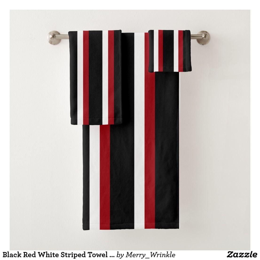 Black Red White Striped Towel Set Zazzle Com Bathroom Red