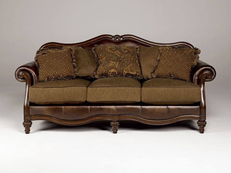 Traditional Living Room Fabric And Wood Trim Curved Sofa | ASHBY   WOOD TRIM  CHENILLE U0026 FAUX LEATHER SOFA COUCH SET LIVING ROOM .