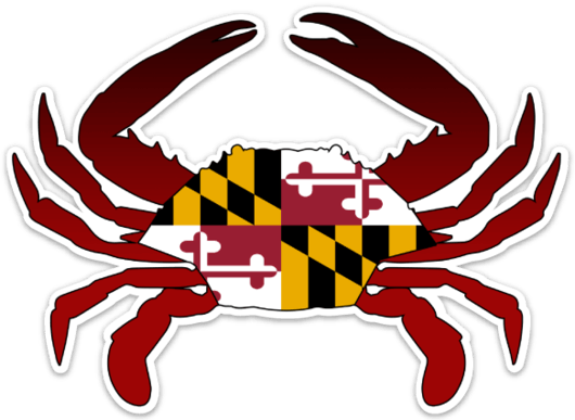 Chesapeake bay blue crab with maryland flag stickers