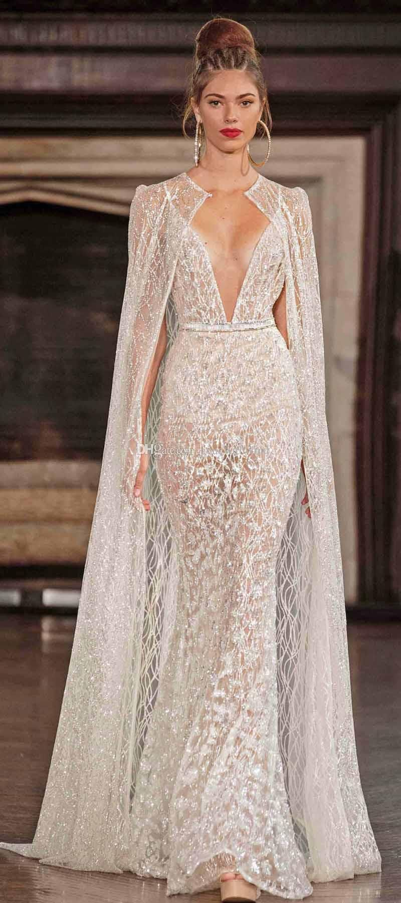 Cheap real photo sexy wedding dresses with cape 2017 berta for Wedding dress with cape train