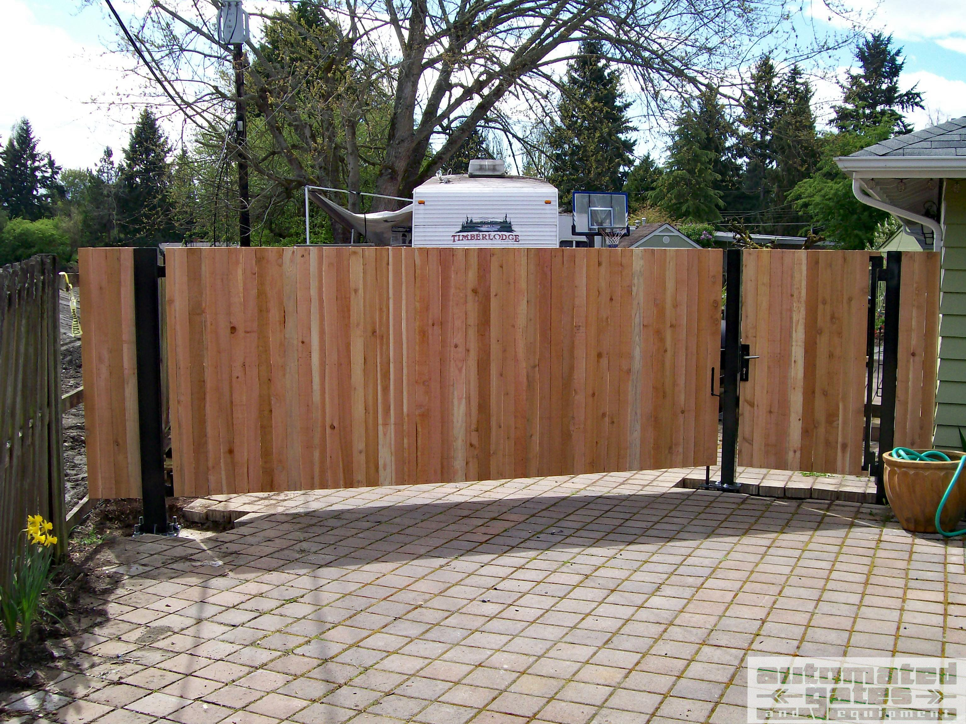Wood Swing Gate Driveway Automated Custom Wood