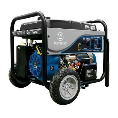 Westinghouse 6 500 Watt Gasoline Powered Electric Start Portable Generator With Battery Wh6500e The Home Depot Westinghouse Portable Generator Generators For Sale