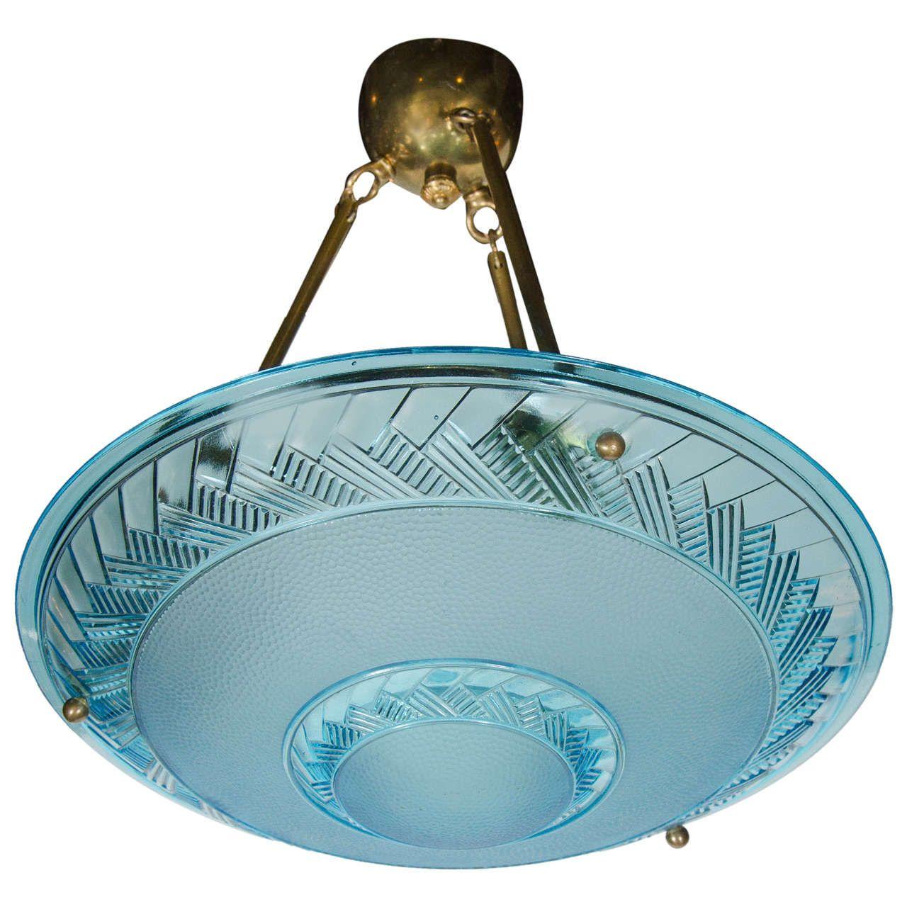 Art deco flush mount chandelier in blue glass by degue flush mount art deco flush mount chandelier in blue glass by degue from a unique collection of arubaitofo Choice Image