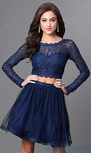 Long Sleeve Navy Blue Two Piece Short Party Dress Homecomingprom