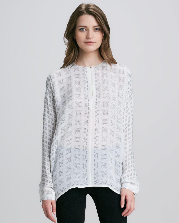 Vince Scarf-Print Silk Blouse