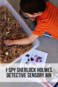 (tot school) i-spy sherlock holmes detective sensory bin #911craftsfortoddlers