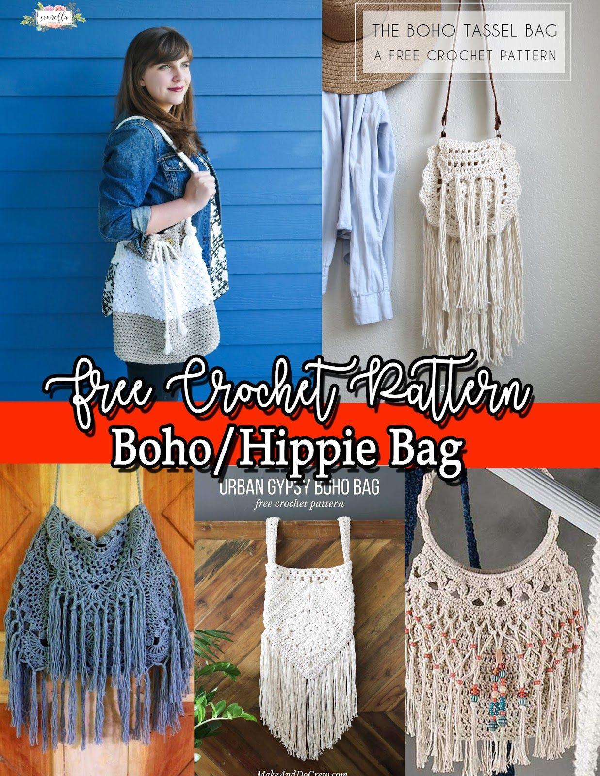 5fae0e4ded9648 FREE CROCHET PATTERN: Boho/Hippie Bag | b bags crochet | Hippie bags ...