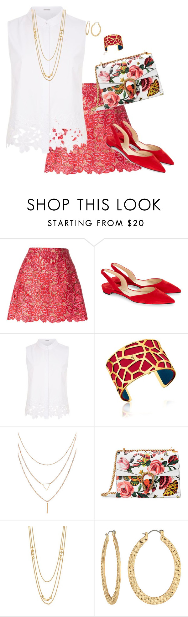 """""""Trending Skirt"""" by toots2271 ❤ liked on Polyvore featuring Marco de Vincenzo, Paul Andrew, Elie Tahari, Les Georgettes, Gucci, Gorjana and Fragments"""