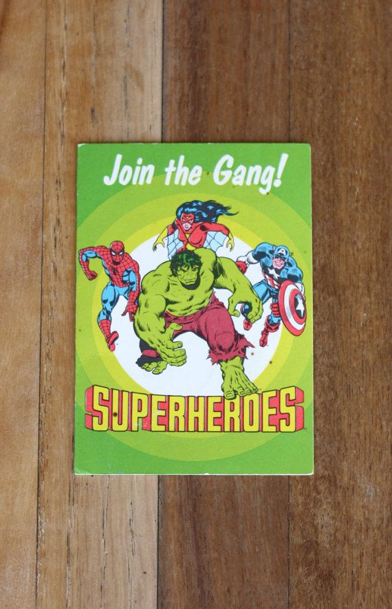Vintage Marvel Superheroes Birthday Invitation Card Party Geek Nerd By SaturdayPickings 450 Blank Superhero Hulk Spiderman Captain America Spiderwoman
