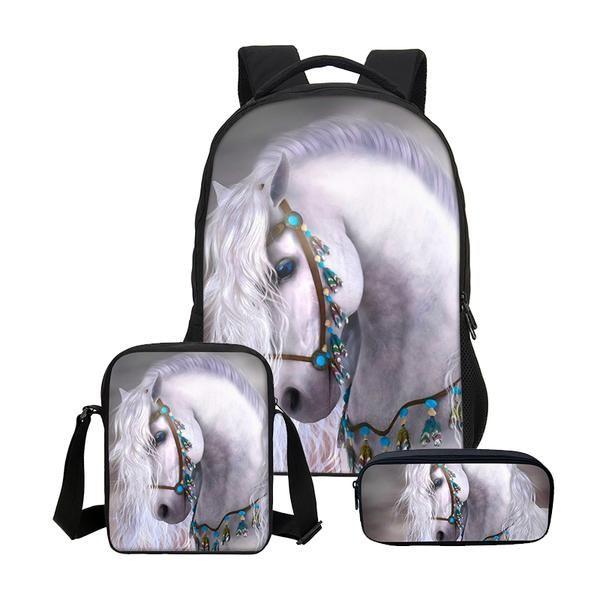 0b514ea55a VEEVANV 3D Horse Printing Girls School Backpacks Fashion3 Pcs Set Children  Cool Bookbags Women Laptop Shoulder