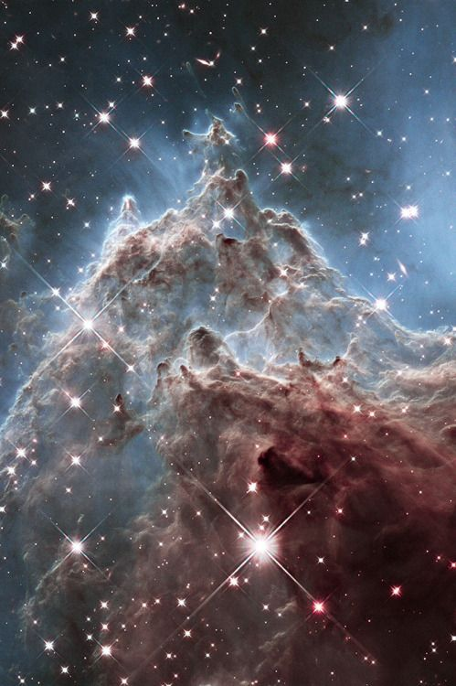 thedemon-hauntedworld:  At the Edge of NGC 2174 Image Credit: NASA, ESA, Hubble Heritage Team (STScI/AURA)  This fantastic skyscape lies near the edge of NGC 2174 a star forming region about 6,400 light-years away in the nebula-rich constellation of Orion. It follows mountainous clouds of gas and dust carved by winds and radiation from the region's newborn stars, now found scattered in open star clusters embedded around the center of NGC 2174, off the top of the frame. Though star formation…