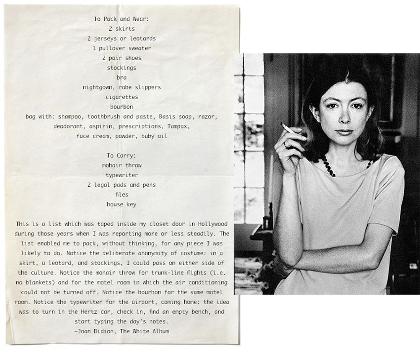 a34d866e2eec Joan Didion Packing List on www.sartreuse.com