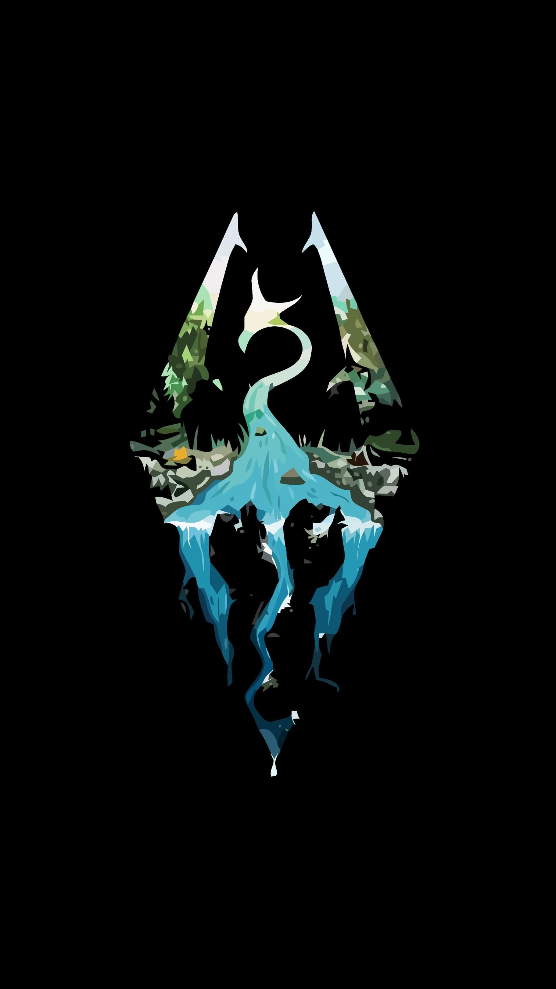 Phone wallpaper Skyrim logo games Skyrim elderscrolls BE3