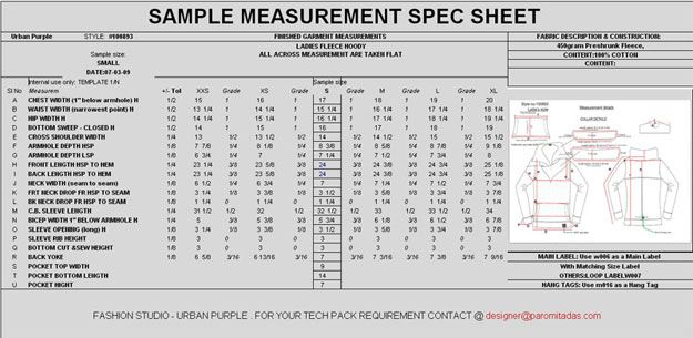 Preparing Garment Measurement Specification Sheet