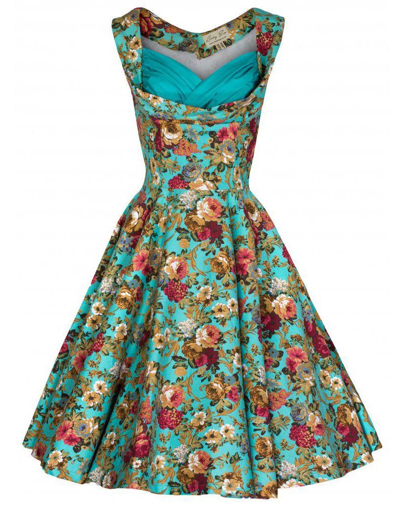 Ophelia Petite Swing Dress Vintage Inspired Fashion Lindy Bop Picnic Dress Floral Print Party Dress Retro Dress [ 1000 x 800 Pixel ]